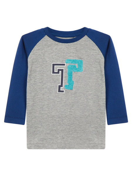 Name it Baby Boy Organic Cotton Grey Top with Long Blue Sleeves