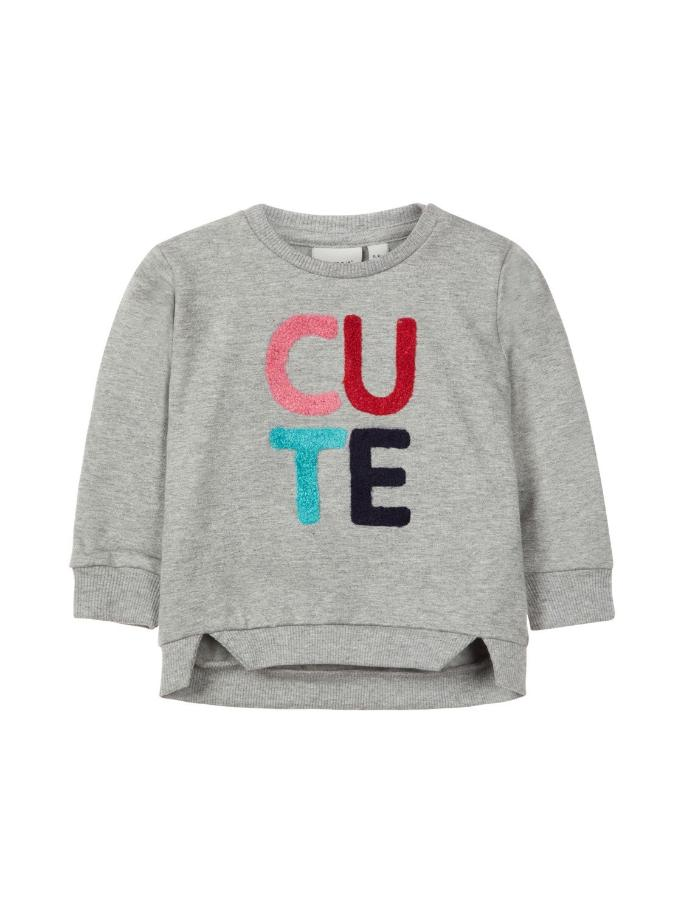 Name it Baby Girl CUTE Organic Cotton Sweat Shirt in Grey FRONT