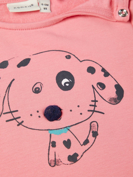 Name it Baby Girl Organic Cotton Sweat Shirt with Dog Print in Pink CLOSE UP