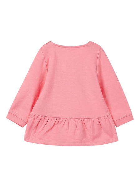 Name it Baby Girl Organic Cotton Sweat Shirt with Dog Print in Pink BACK