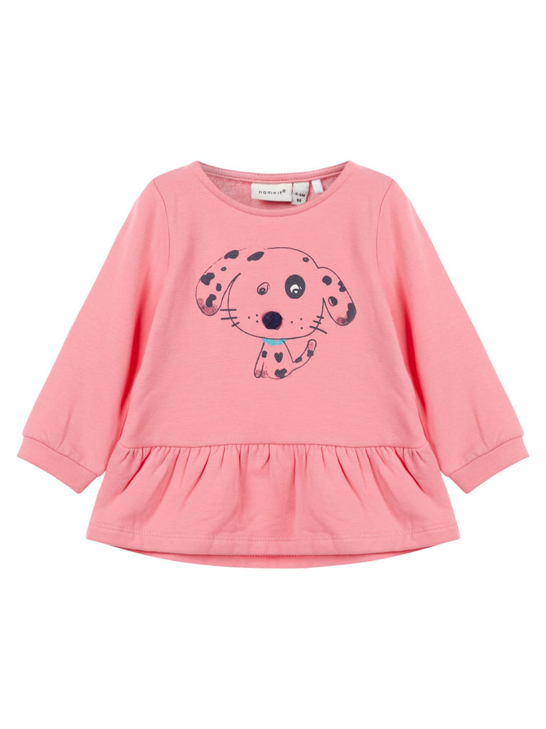Name it Baby Girl Organic Cotton Sweat Shirt with Dog Print in Pink FRONT