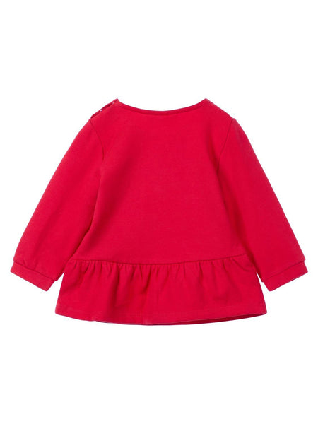 Name it Baby Girl Organic Cotton Sweat Shirt with Dog Print in Red BACK