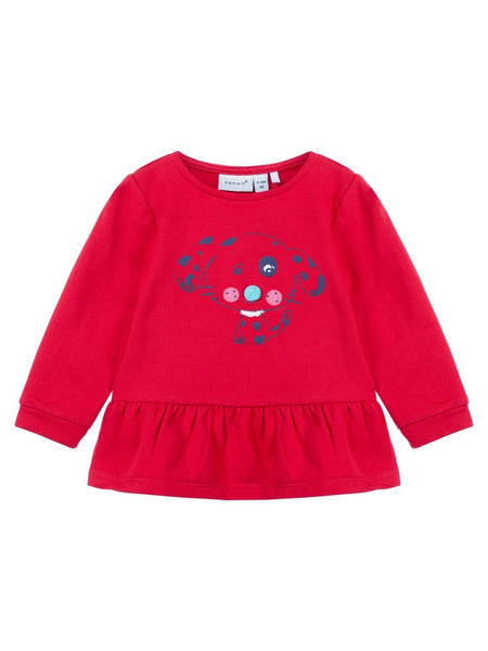 Name it Baby Girl Organic Cotton Sweat Shirt with Dog Print in Red FRONT