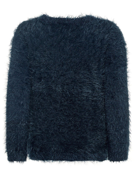 Name it Mini Girl Fluffy Knitted Jumper with Puppy & Kitten NAVY BACK
