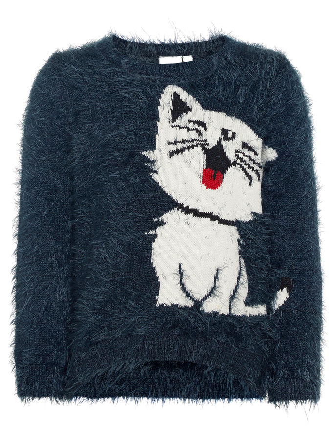 Name it Mini Girl Fluffy Knitted Jumper with Puppy & Kitten NAVY FRONT