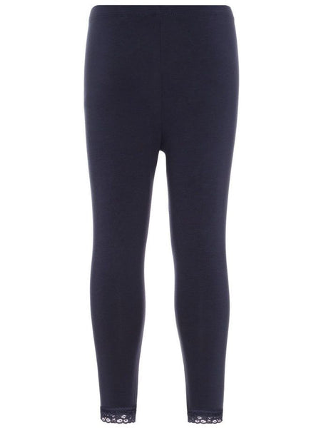Name it Girls Solid Navy & Pink Capri Leggings with Lace Hem DARK SAPPHIRE BACK