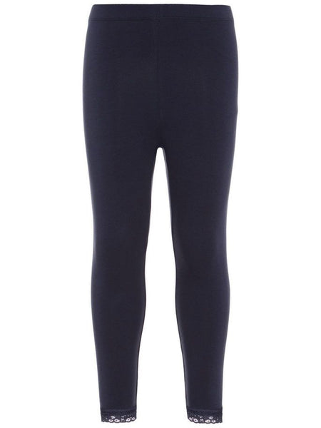 Name it Girls Solid Navy & Pink Capri Leggings with Lace Hem DARK SAPPHIRE FRONT