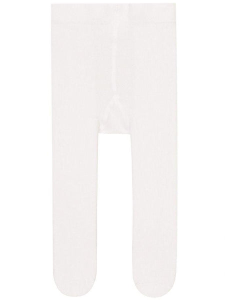 Name it Baby Girl Solid White Tights with Lace Frill on Back FRONT