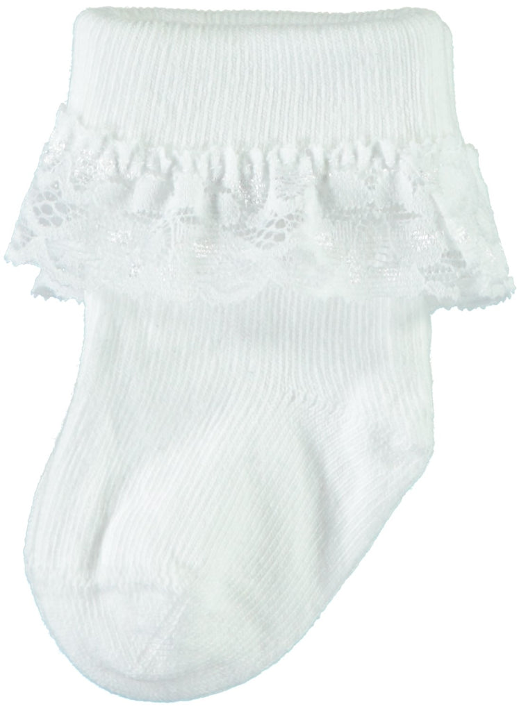 Name it Baby Girl Solid White Socks with Lace Frill