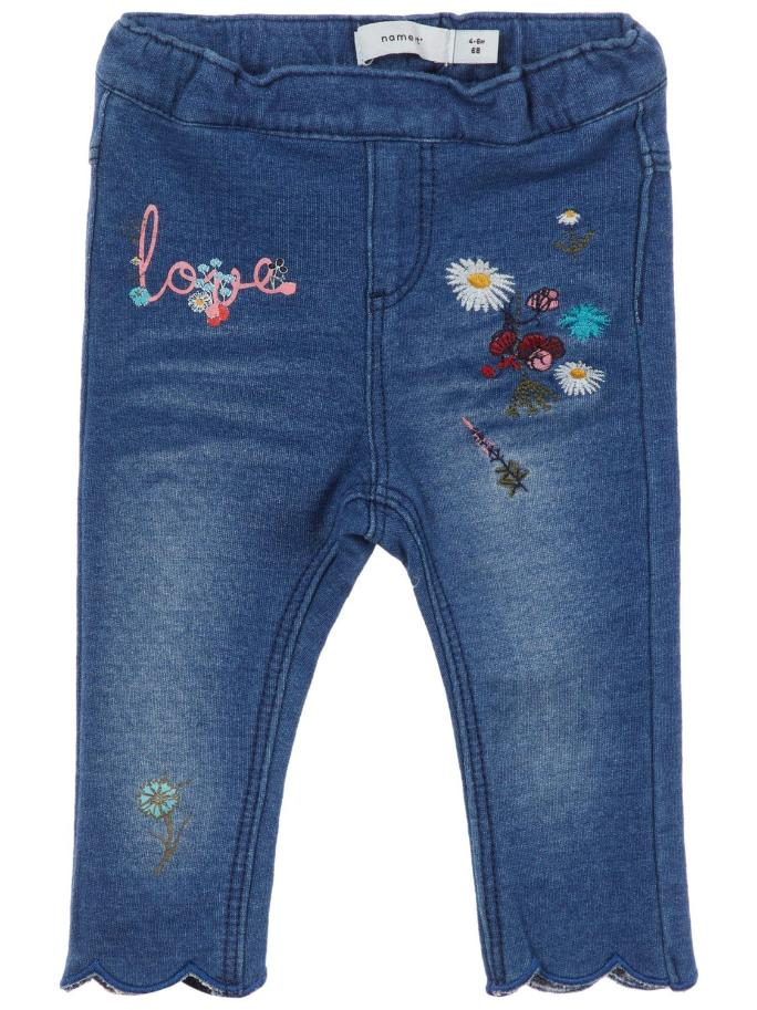 Name it Baby Girl Organic Cotton Sweat Denim Floral Leggings FRONT
