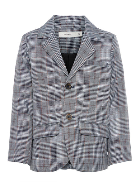 Name it Mini Boy Button Up Grey Blazer with Houndstooth Check Design FRONT