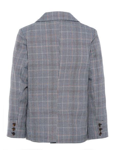 Name it Mini Boy Button Up Grey Blazer with Houndstooth Check Design BACK