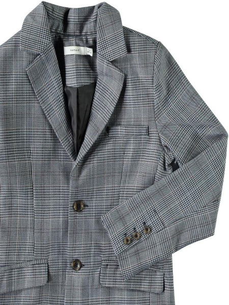 Name it Boys Grey Button Up Blazer with Prince of Wales Print CLOSE UP