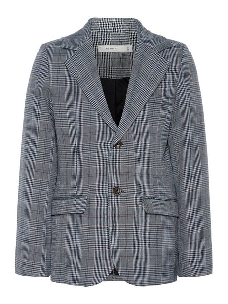 Name it Boys Grey Button Up Blazer with Prince of Wales Print FRONT