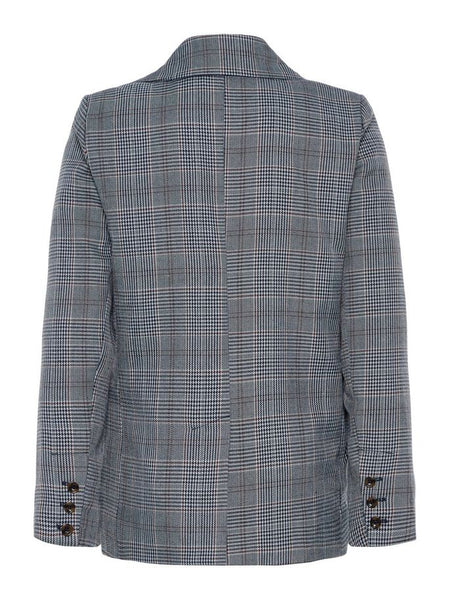 Name it Boys Grey Button Up Blazer with Prince of Wales Print BACK
