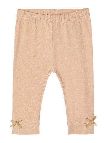 Name it Baby Girl Organic Cotton Glittery Leggings with Bow Detail