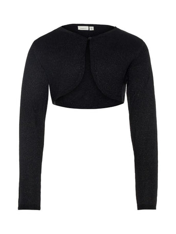 Name it Girls Long Sleeved Black Knitted Bolero FRONT