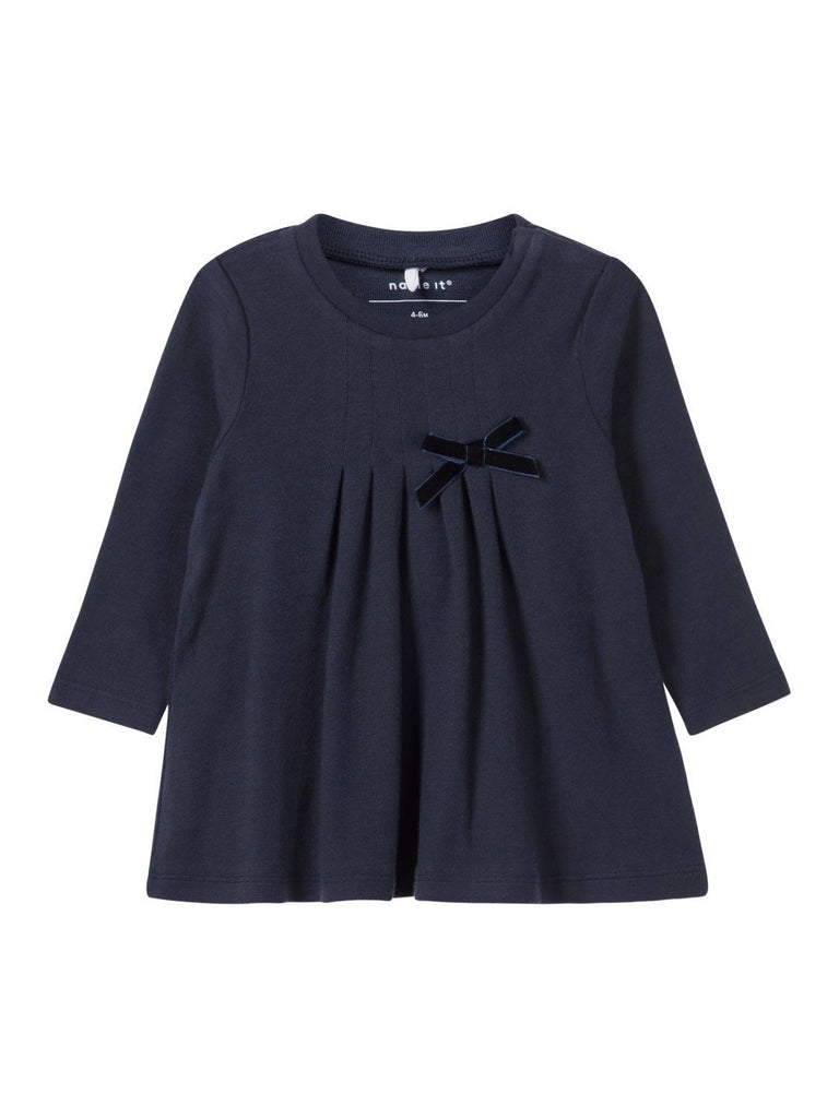Name it Baby Girl Organic Cotton Long Sleeved Navy Tunic with Bow Detail FRONT
