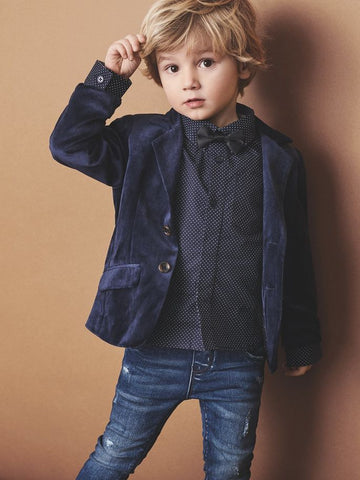 Name it Mini Boy Velvet Button Up Blazer in Navy