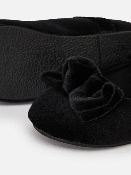 Name it Mini Girl Black Velvet Velcro Shoes with Bow Detail