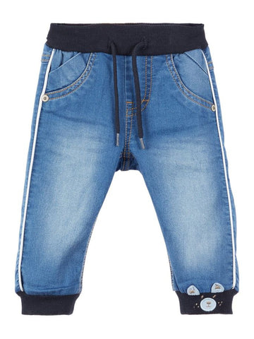 Name it Baby Boy Soft Denim Jeans with Teddy Motif
