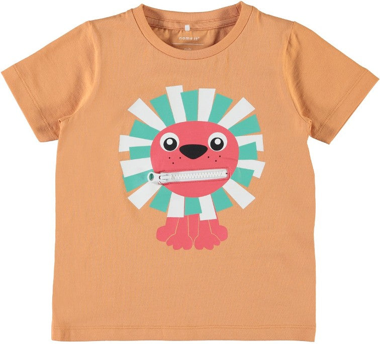 Name it Mini Boy Organic Cotton Tiger T-Shirt with Zip Mouth COPPER TAN FRONT ZIP CLOSED