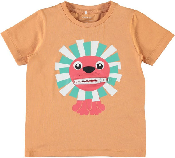 Name it Mini Boy Organic Cotton Tiger T-Shirt with Zip Mouth COPPER TAN FRONT ZIP OPEN