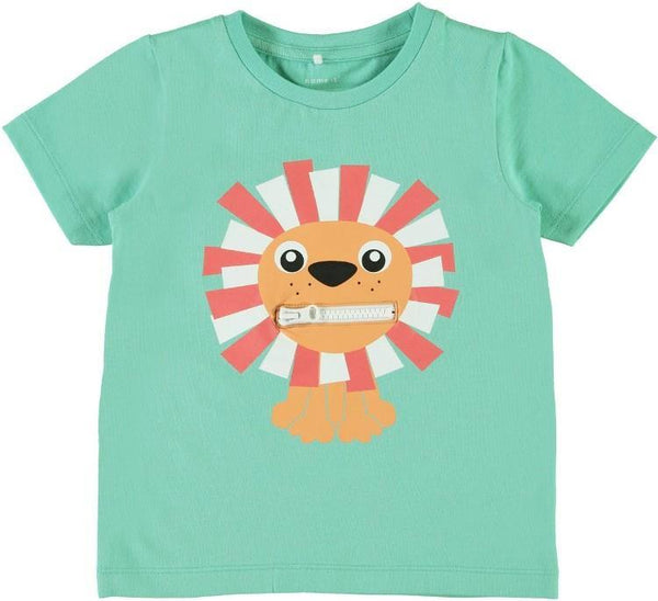 Name it Mini Boy Organic Cotton Tiger T-Shirt with Zip Mouth POOL BLUE FRONT ZIP CLOSED