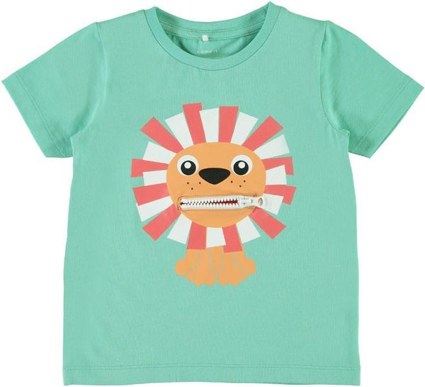 Name it Mini Boy Organic Cotton Tiger T-Shirt with Zip Mouth POOL BLUE FRONT ZIP OPEN