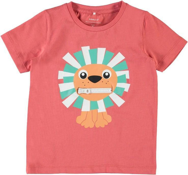 Name it Mini Boy Organic Cotton Tiger T-Shirt with Zip Mouth SPICED CORAL FRONT ZIP CLOSED