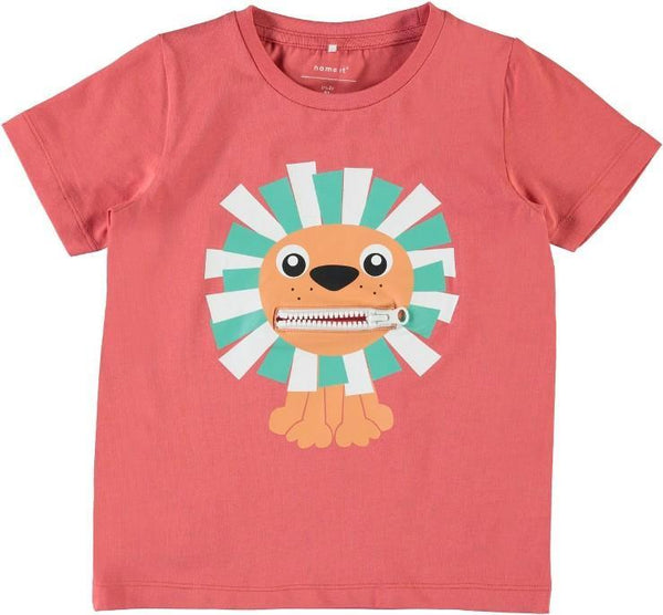 Name it Mini Boy Organic Cotton Tiger T-Shirt with Zip Mouth SPICED CORAL FRONT ZIP OPEN