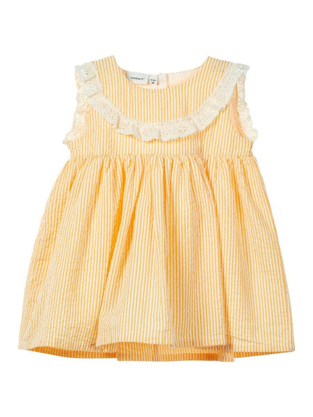Name it Baby Girl Cotton Striped Dress in Yellow