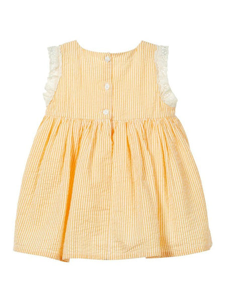 Name it Baby Girl Cotton Striped Dress in Yellow & Pink