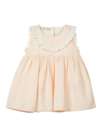 Name it Baby Girl Cotton Striped Dress in Pink
