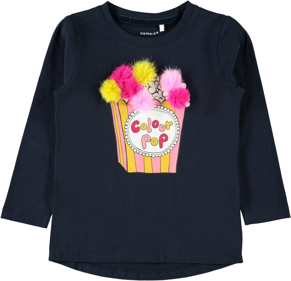 Name it Mini Girl Long Sleeved Cotton Top with Colourful Pom Pom & Glitter NAVY