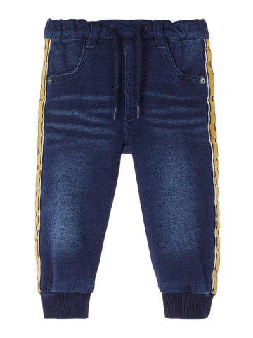 Baby Boy Soft Sweat Dark Denim Jeans with Side Detail