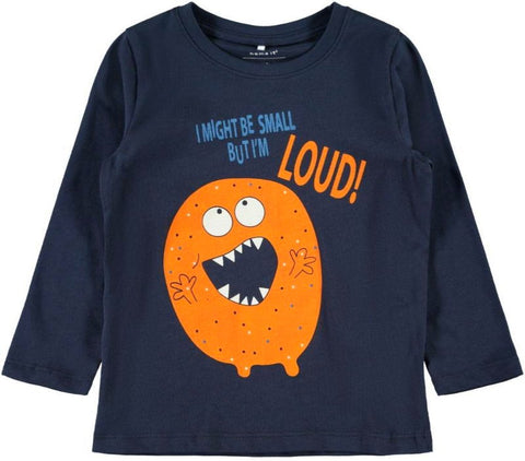 Name it Mini Boy I Might Be Small But I'm Loud Long Sleeved Monster Top NAVY