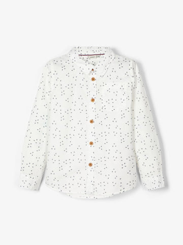 Name it Boys White Shirt with Navy Dot
