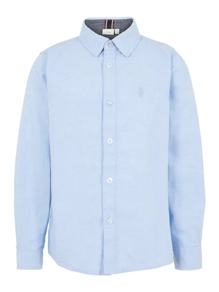 Name it Boys Long Sleeved Blue Cotton Shirt