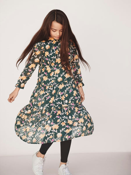 Name it Girls Floral Print  Long Sleeved Dress