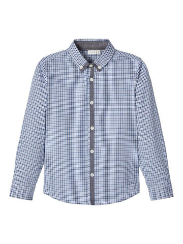 Name it Boys Blue Cotton Check Long Sleeved Shirt