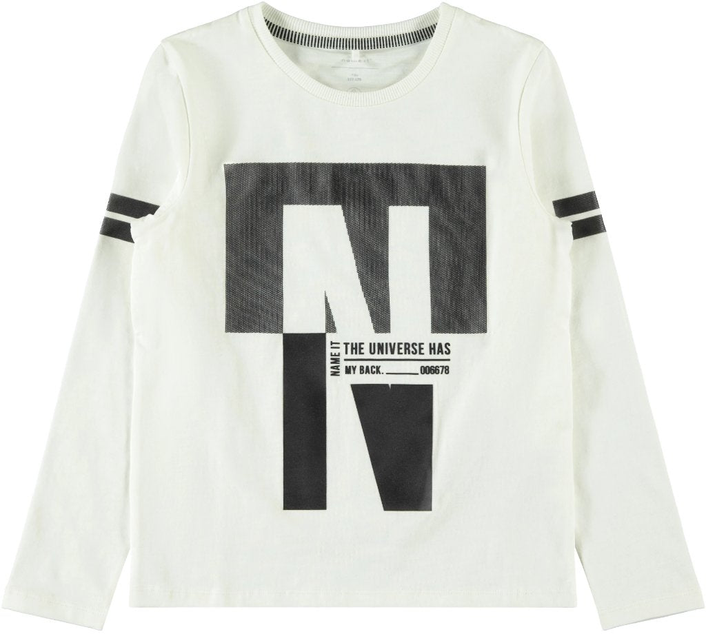 Name it Boys Long Sleeved Graphic Print White Top