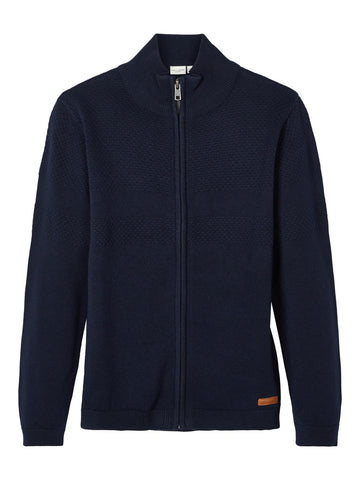 Name it Boys Navy Knitted Zip Up Cardigan