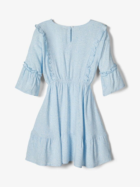 Name it Girls Pretty Pale Blue Floral Skater Dress