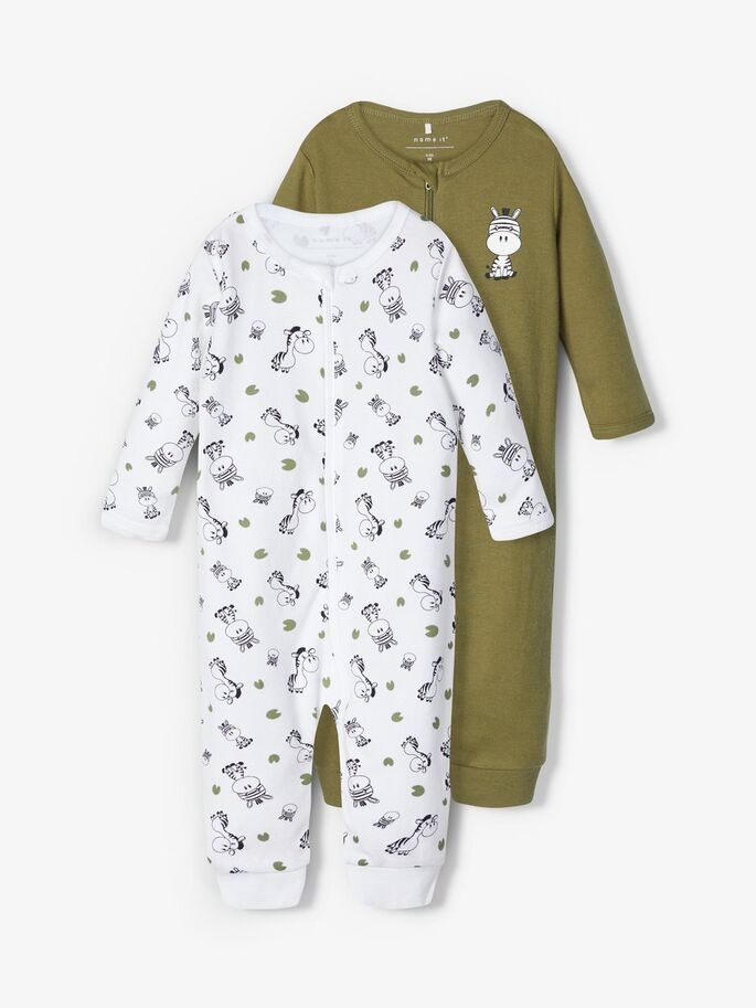 Name it Baby Boy 2-Pack Zip-Up Babygrows / Nightsuit