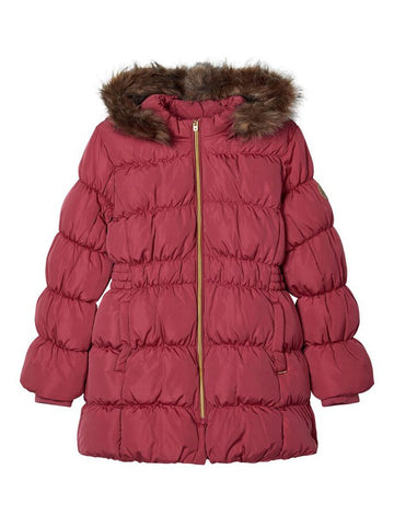 Name it Girls Quilted Down Parka Coat in Rose Colour