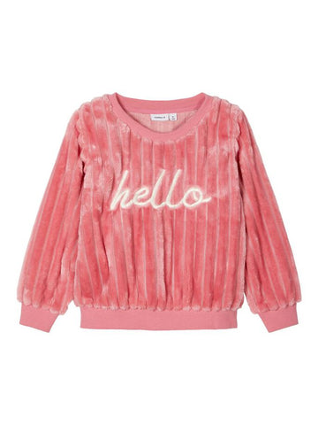 Name it Mini Girl Embroidered Teddy Sweatshirt