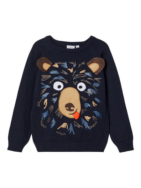 Name it Toddler Boy Bear Face Kitted Jumper