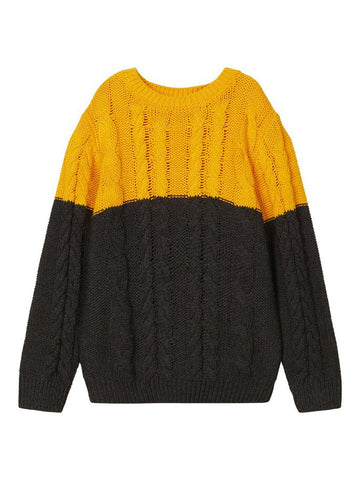 Name it Toddler Boy Cable Knit Jumper Grey and Yellow