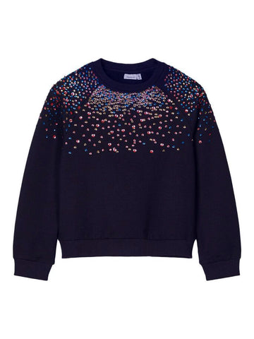 Name it Girls Sequin Embellished Navy Sweatshirt